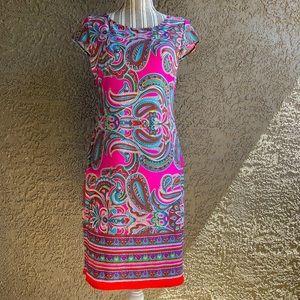 Karin Stevens Paisley Print Midi Elegant Dress S